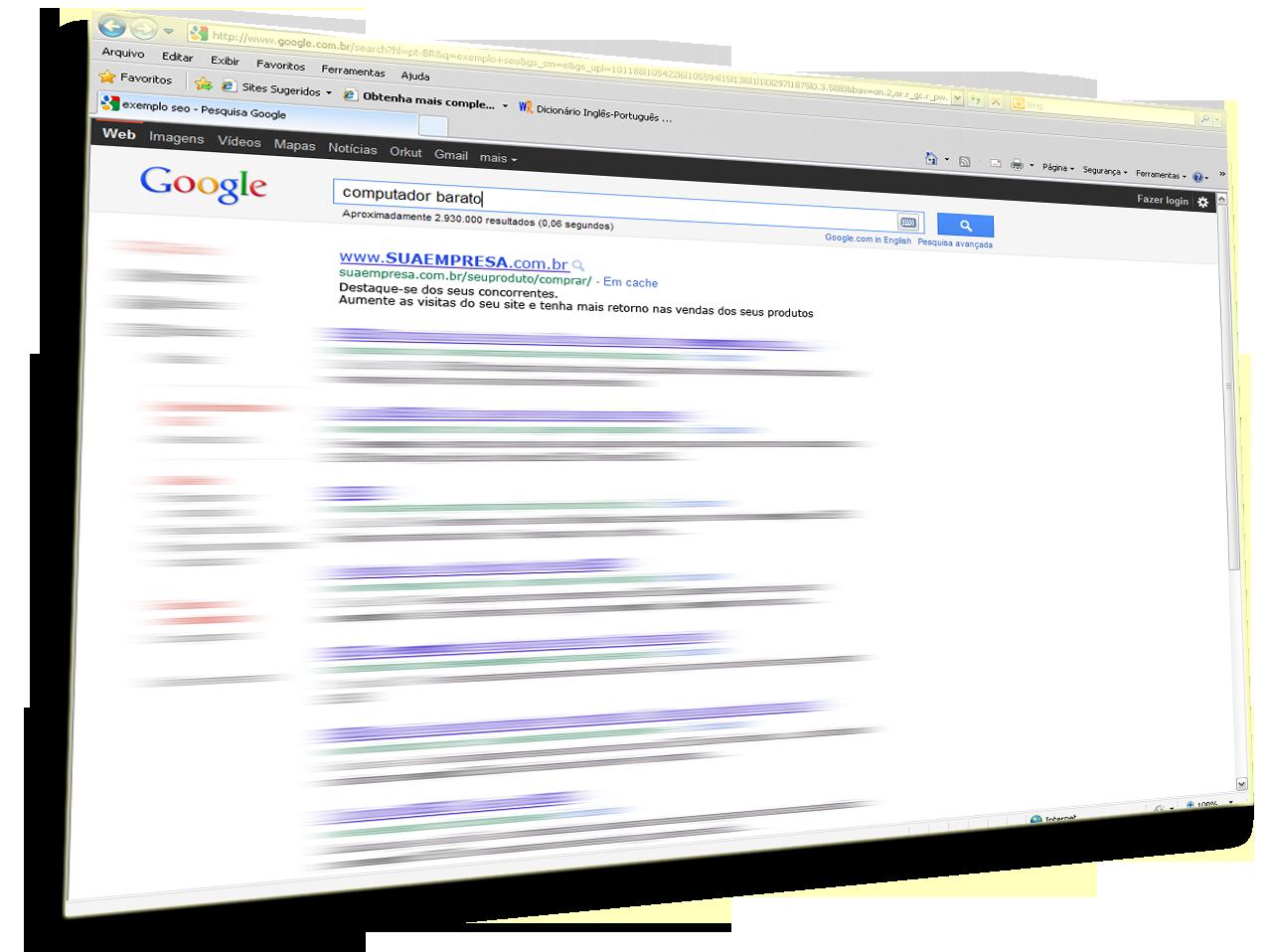 Otimização de sites em mecanismos de buscas. Google, Yahoo, Cadê, Msn e outros...